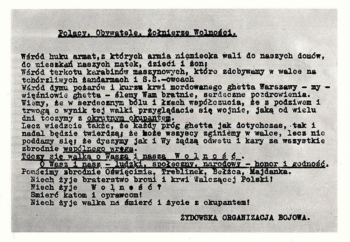 Odezwa Żydowskiej Organizacji Bojowej do Polaków, 23 kwietnia 1943 r.